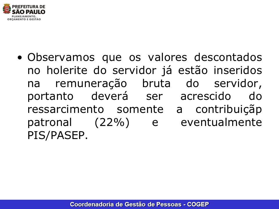 Observamos que os valores descontados no holerite do servidor já estão inseridos na remuneração bruta do servidor, portanto deverá ser acrescido do ressarcimento somente a contribuiçãp patronal (22%) e eventualmente PIS/PASEP.