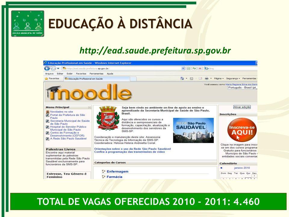 TOTAL DE VAGAS OFERECIDAS 2010 - 2011: 4.460