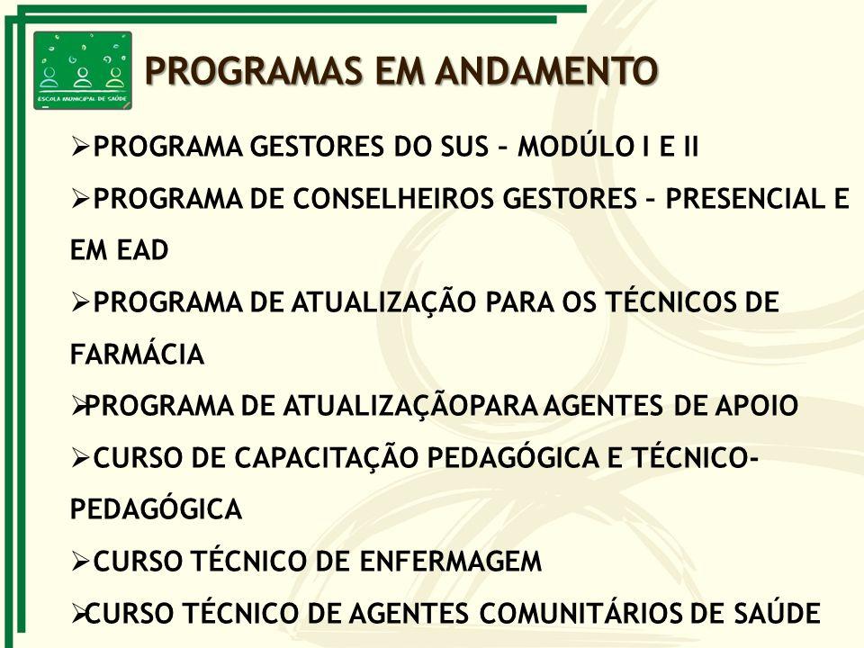 PROGRAMAS EM ANDAMENTO