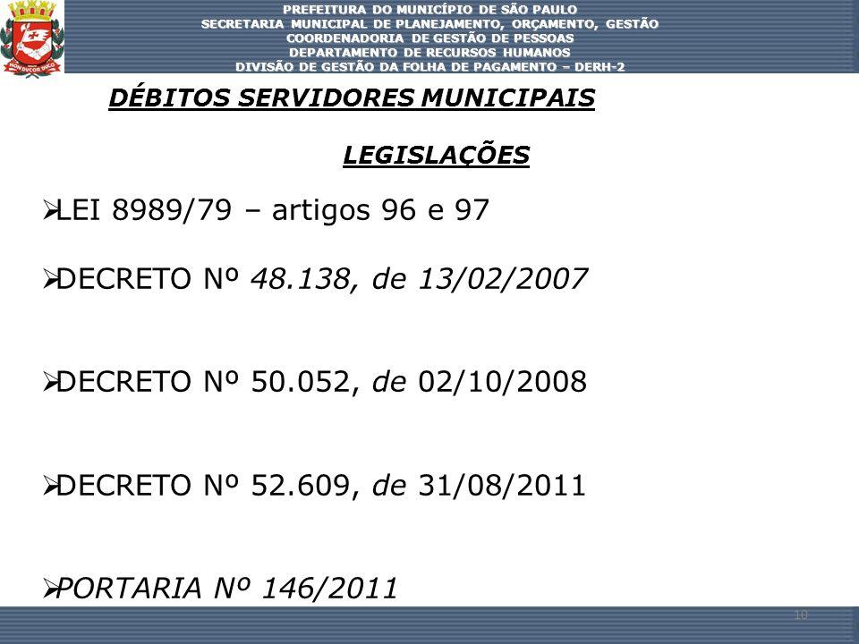 LEI 8989/79 – artigos 96 e 97 DECRETO Nº 48.138, de 13/02/2007
