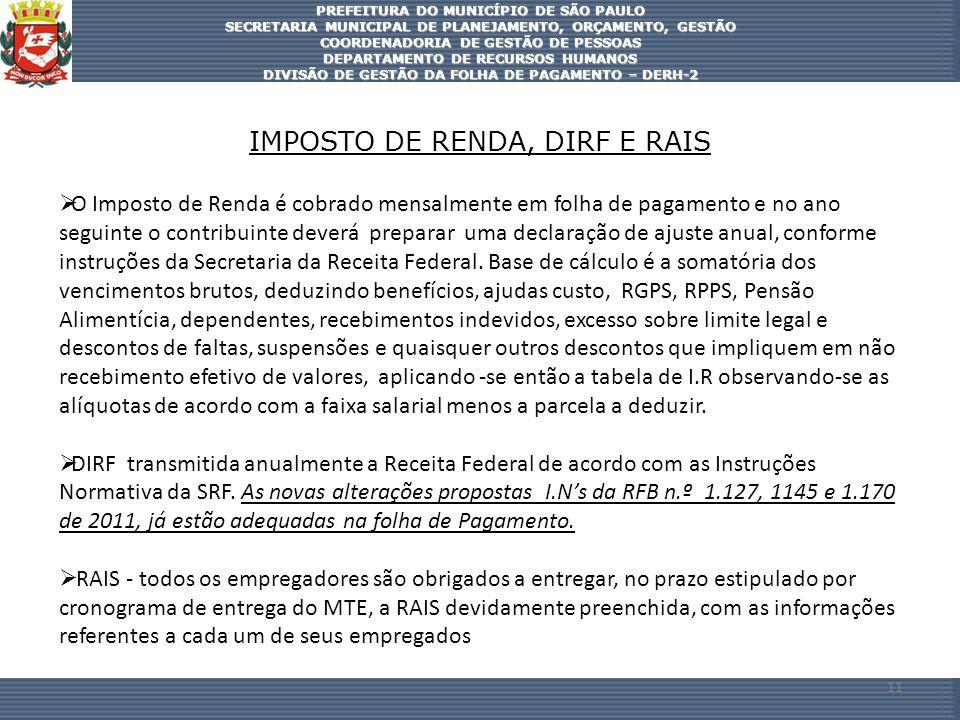 IMPOSTO DE RENDA, DIRF E RAIS