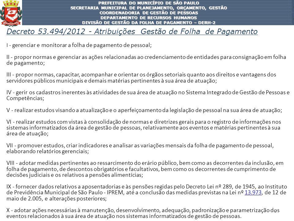 Decreto 53.494/2012 - Atribuições Gestão de Folha de Pagamento