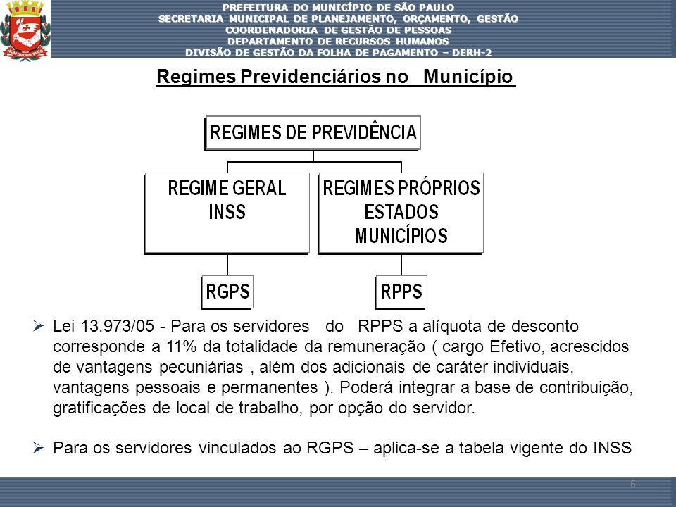 Regimes Previdenciários no Município