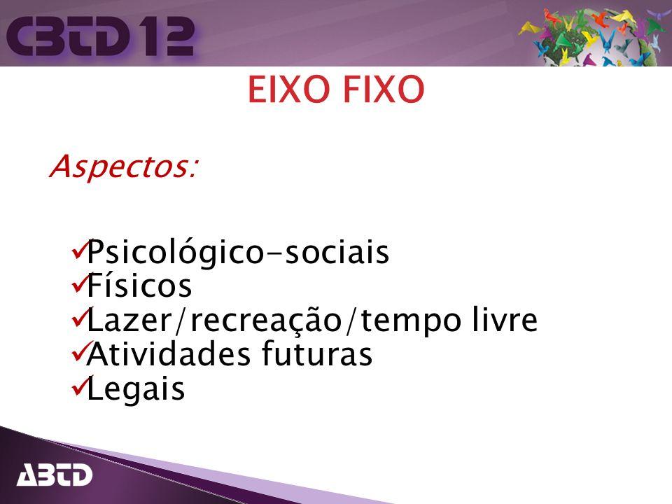 EIXO FIXO Psicológico-sociais Físicos Lazer/recreação/tempo livre