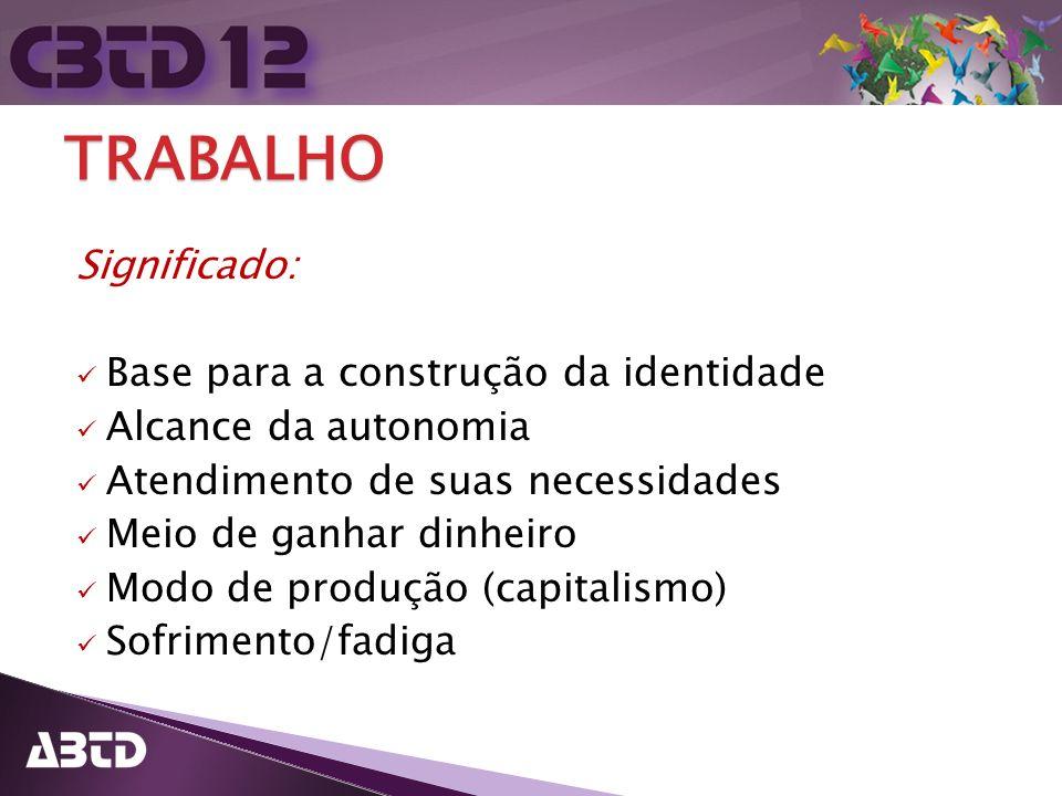 TRABALHO Significado: Base para a construção da identidade