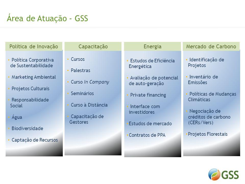 Área de Atuação - GSS Energia Capacitação Mercado de Carbono