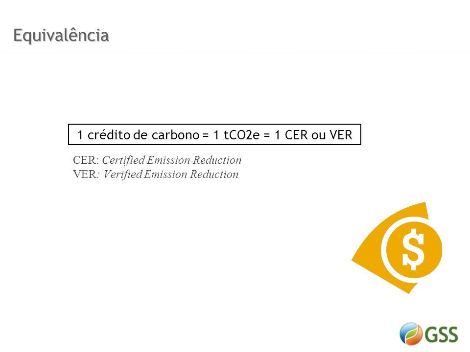 1 crédito de carbono = 1 tCO2e = 1 CER ou VER