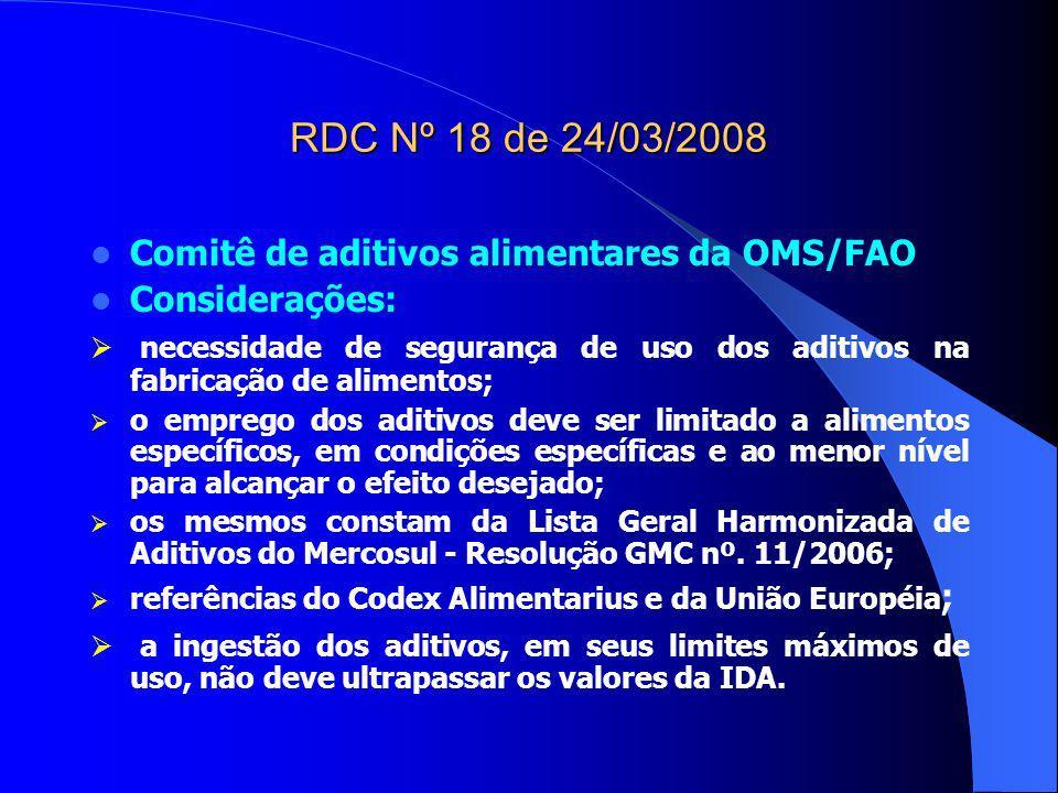 RDC Nº 18 de 24/03/2008 Comitê de aditivos alimentares da OMS/FAO