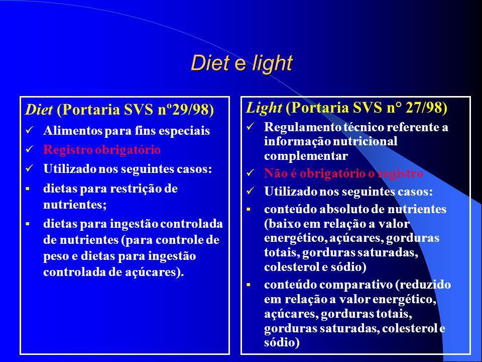 Diet e light Diet (Portaria SVS nº29/98) Light (Portaria SVS n° 27/98)