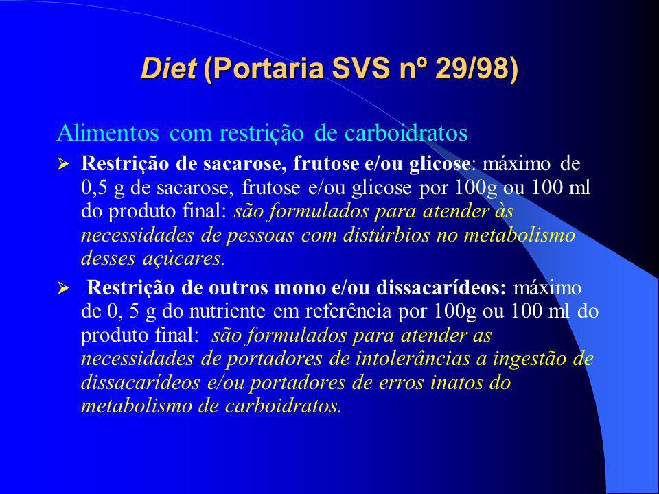Diet (Portaria SVS nº 29/98)