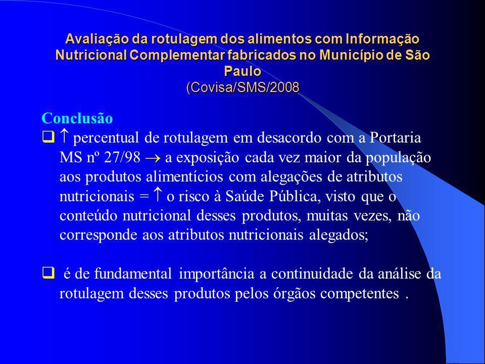 Avaliação da rotulagem dos alimentos com Informação Nutricional Complementar fabricados no Município de São Paulo (Covisa/SMS/2008