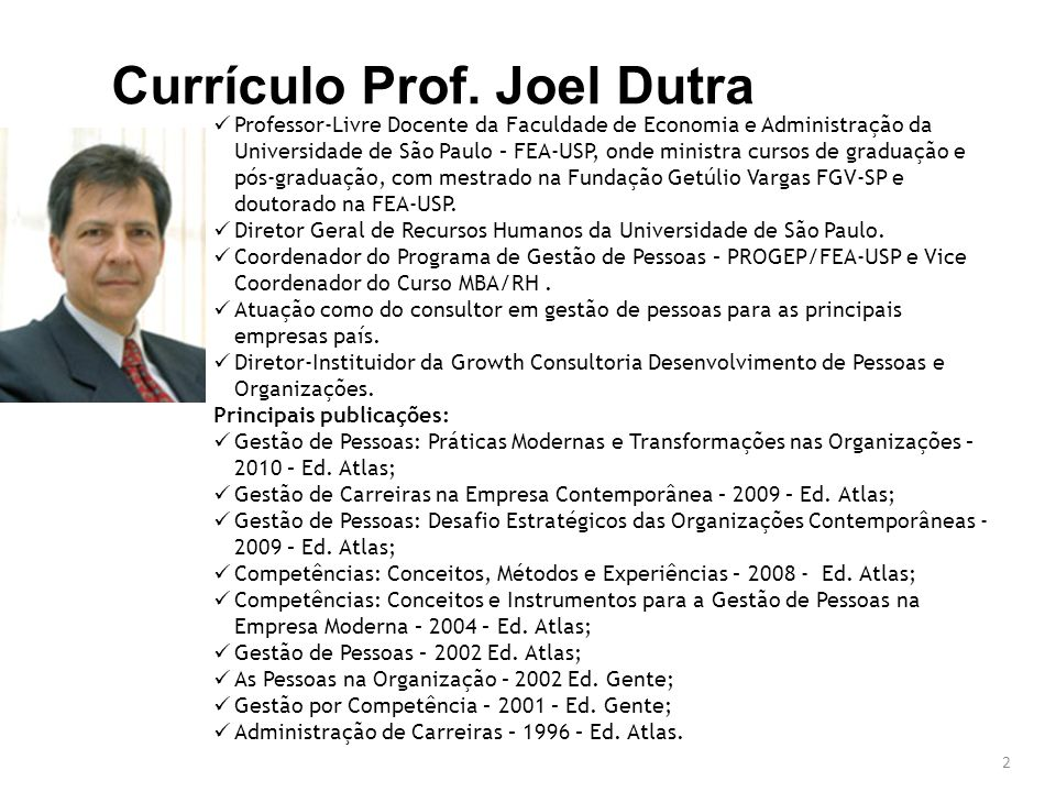 Currículo Prof. Joel Dutra