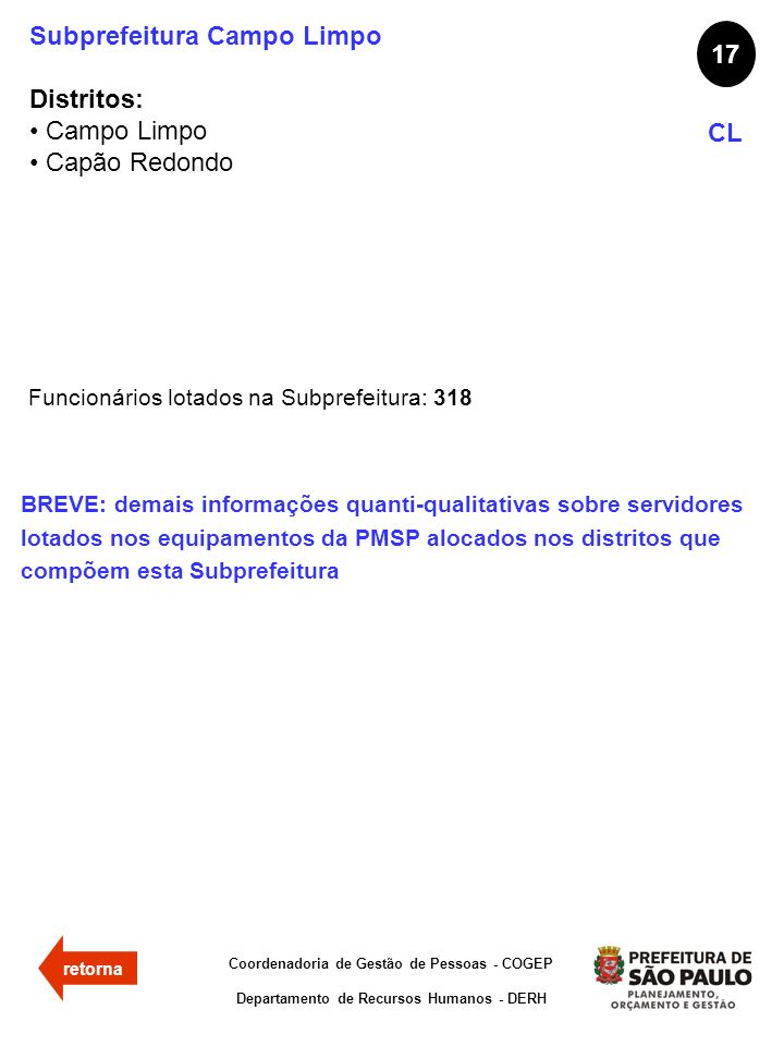 Subprefeitura Campo Limpo Distritos: Campo Limpo Capão Redondo 17