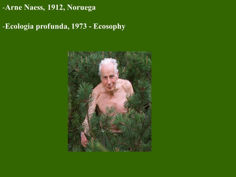 Arne Naess, 1912, Noruega Ecologia profunda, 1973 - Ecosophy