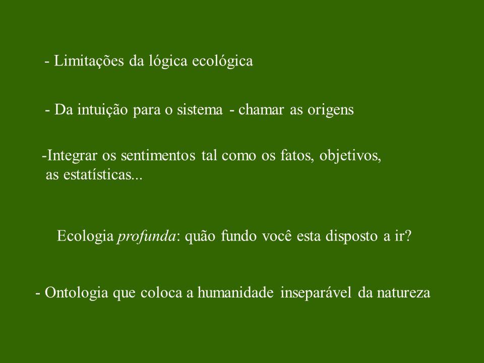 - Limitações da lógica ecológica
