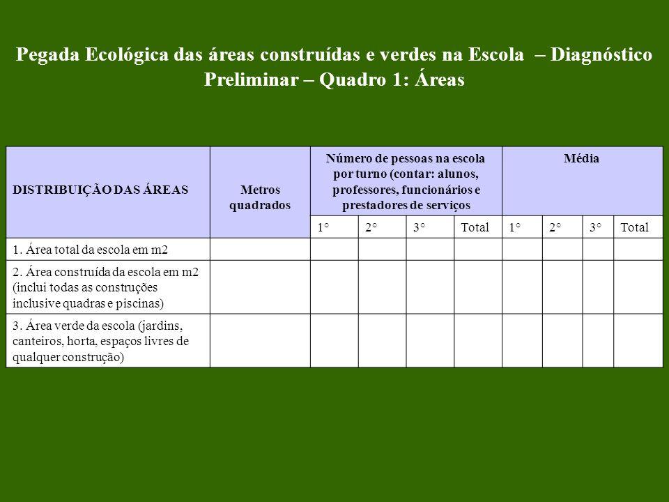 Pegada Ecológica das áreas construídas e verdes na Escola – Diagnóstico Preliminar – Quadro 1: Áreas