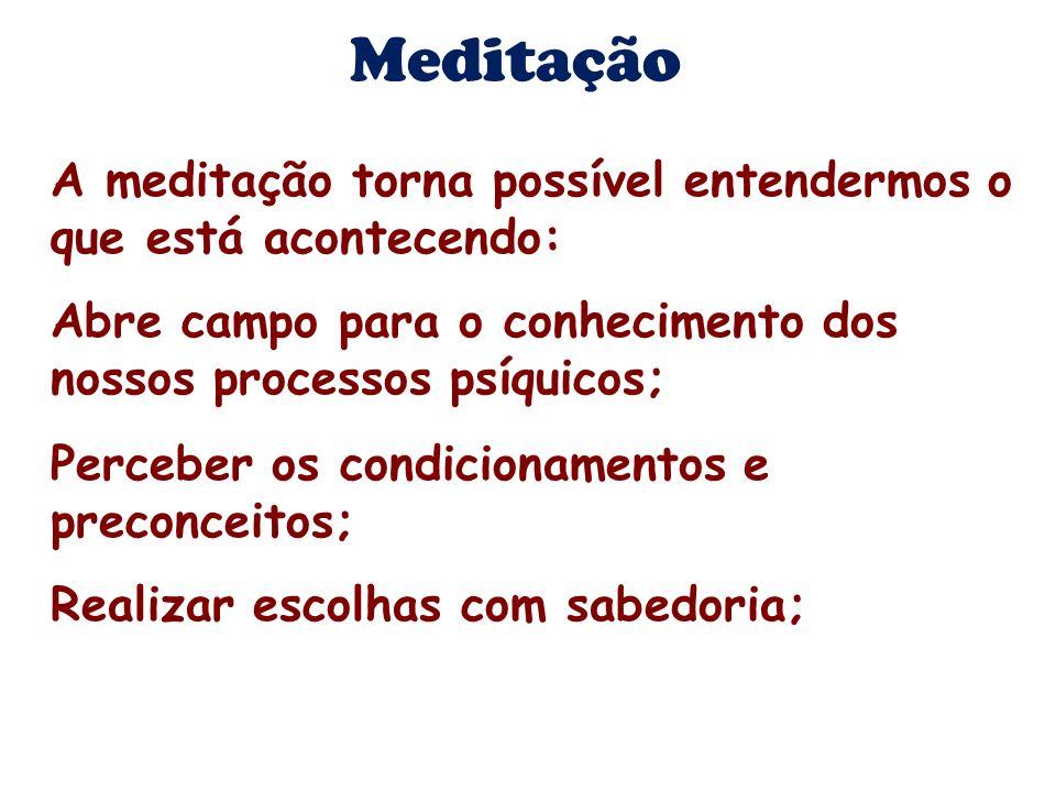 Meditação A meditação torna possível entendermos o que está acontecendo: Abre campo para o conhecimento dos nossos processos psíquicos;