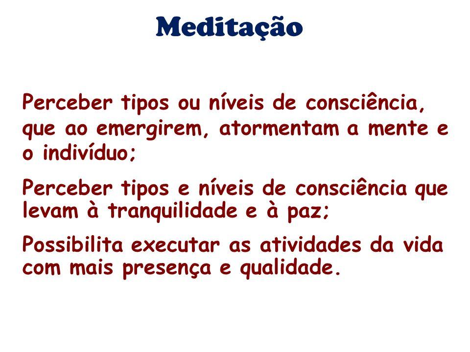 Meditação Perceber tipos ou níveis de consciência, que ao emergirem, atormentam a mente e o indivíduo;