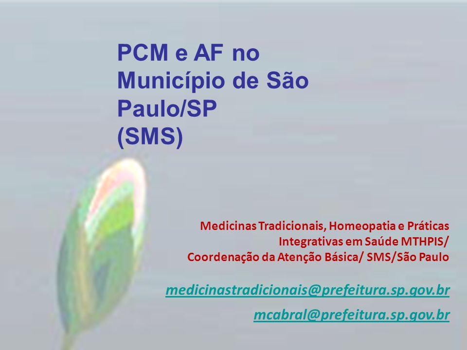 PCM e AF no Município de São Paulo/SP (SMS)