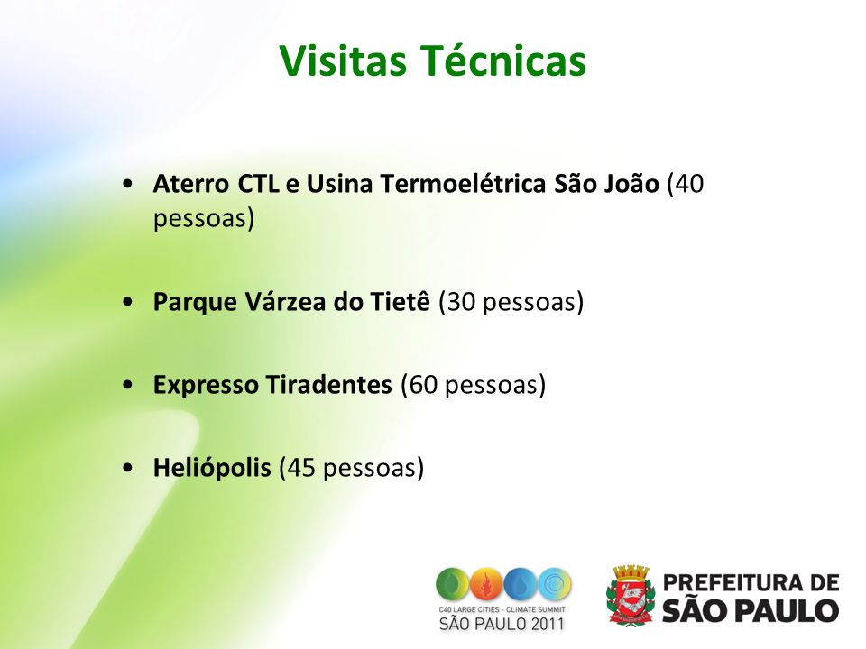 Visitas Técnicas Aterro CTL e Usina Termoelétrica São João (40 pessoas) Parque Várzea do Tietê (30 pessoas)