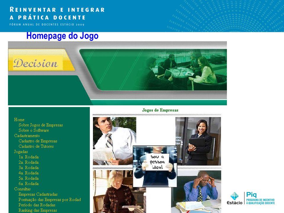Homepage do Jogo
