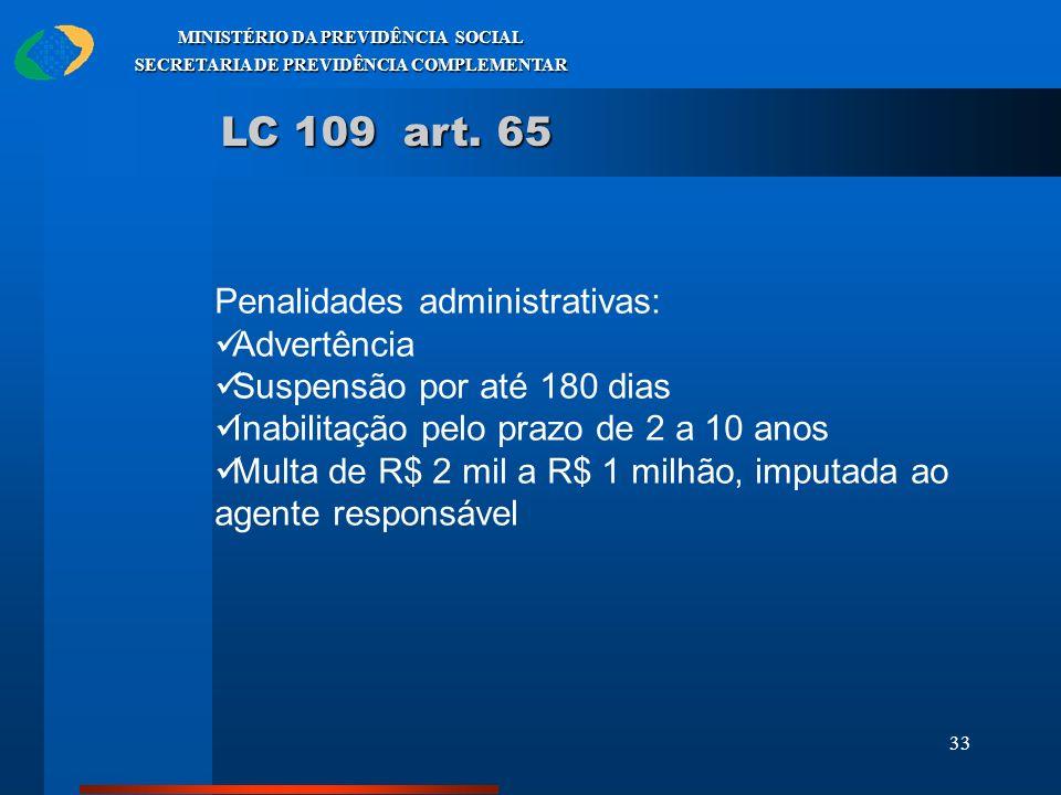 LC 109 art. 65 Penalidades administrativas: Advertência