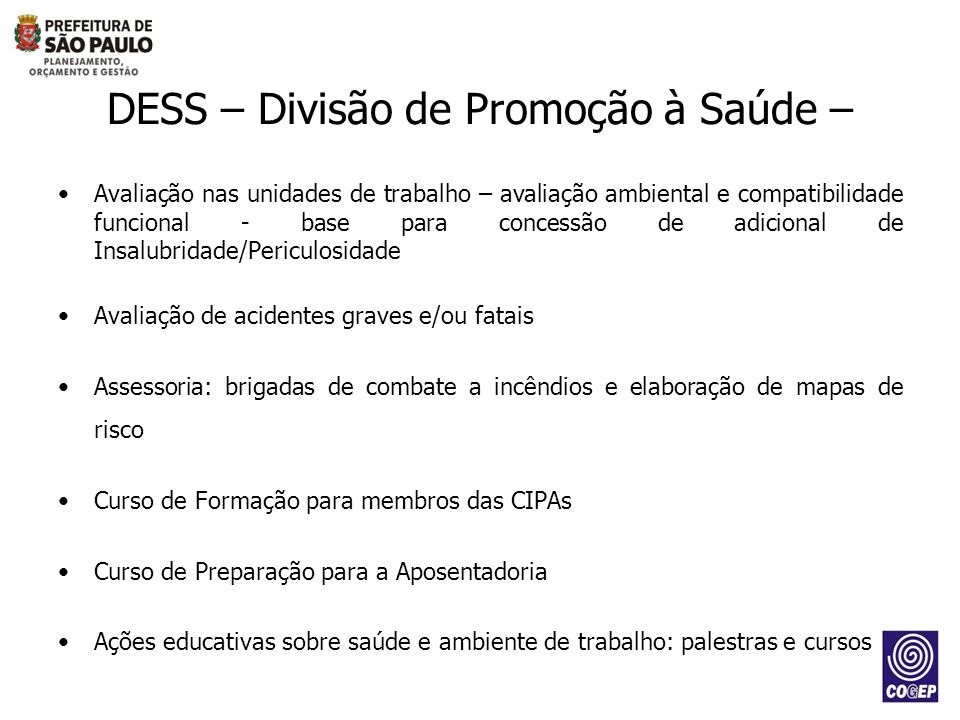 DESS – Divisão de Promoção à Saúde –