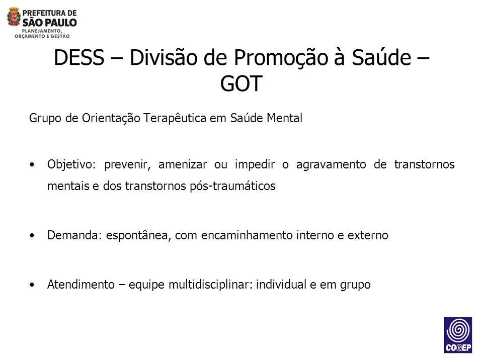 DESS – Divisão de Promoção à Saúde – GOT