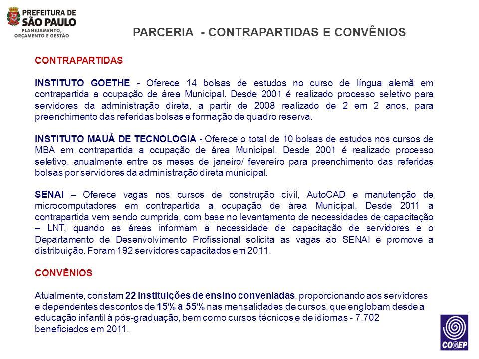 PARCERIA - CONTRAPARTIDAS E CONVÊNIOS