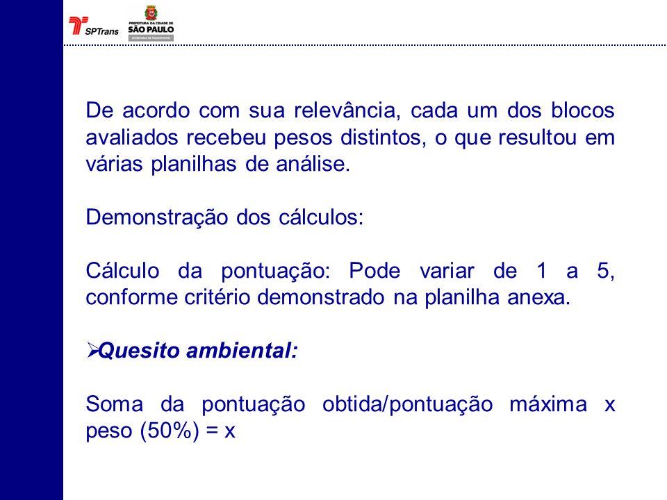 De acordo com sua relevância, cada um dos blocos avaliados recebeu pesos distintos, o que resultou em várias planilhas de análise.