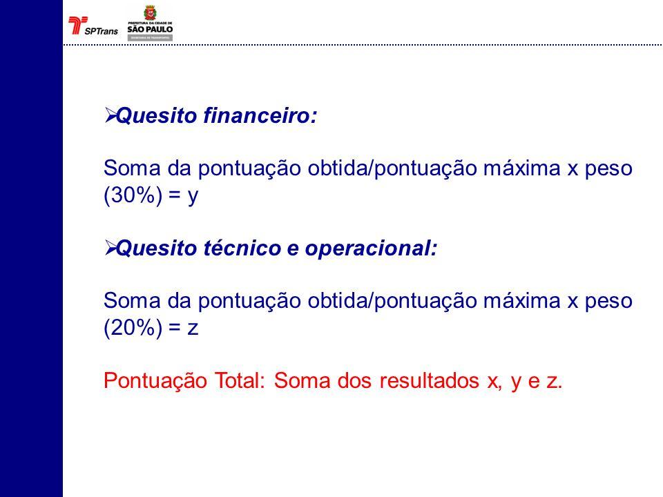 Quesito financeiro: Soma da pontuação obtida/pontuação máxima x peso (30%) = y. Quesito técnico e operacional: