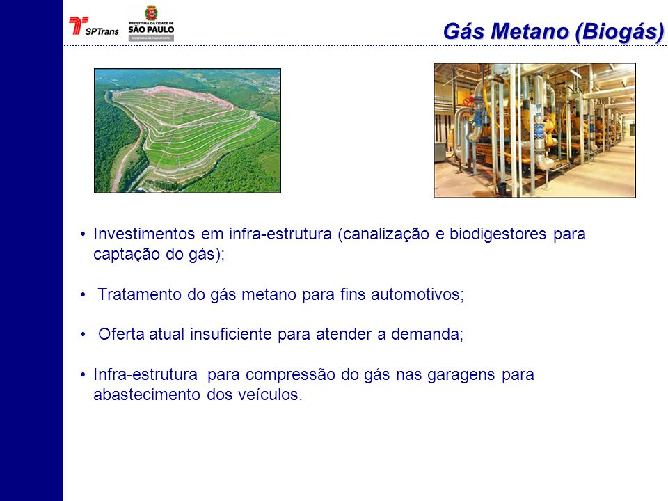 Gás Metano (Biogás)Investimentos em infra-estrutura (canalização e biodigestores para captação do gás);