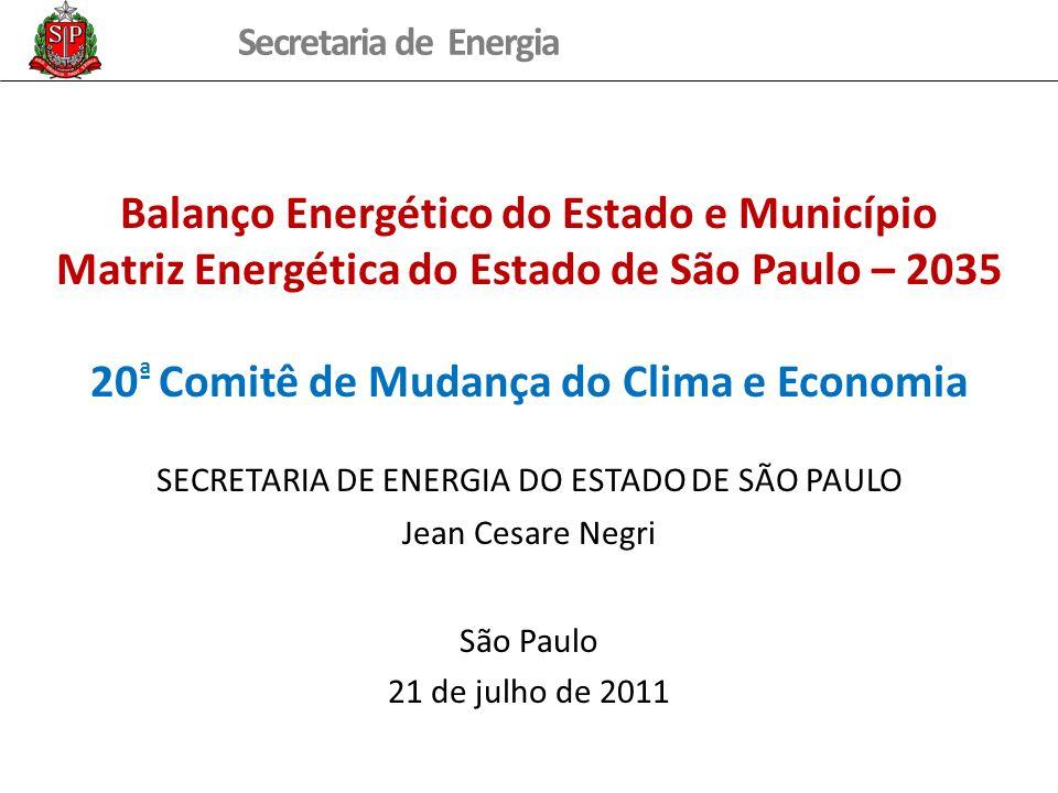 Balanço Energético do Estado e Município