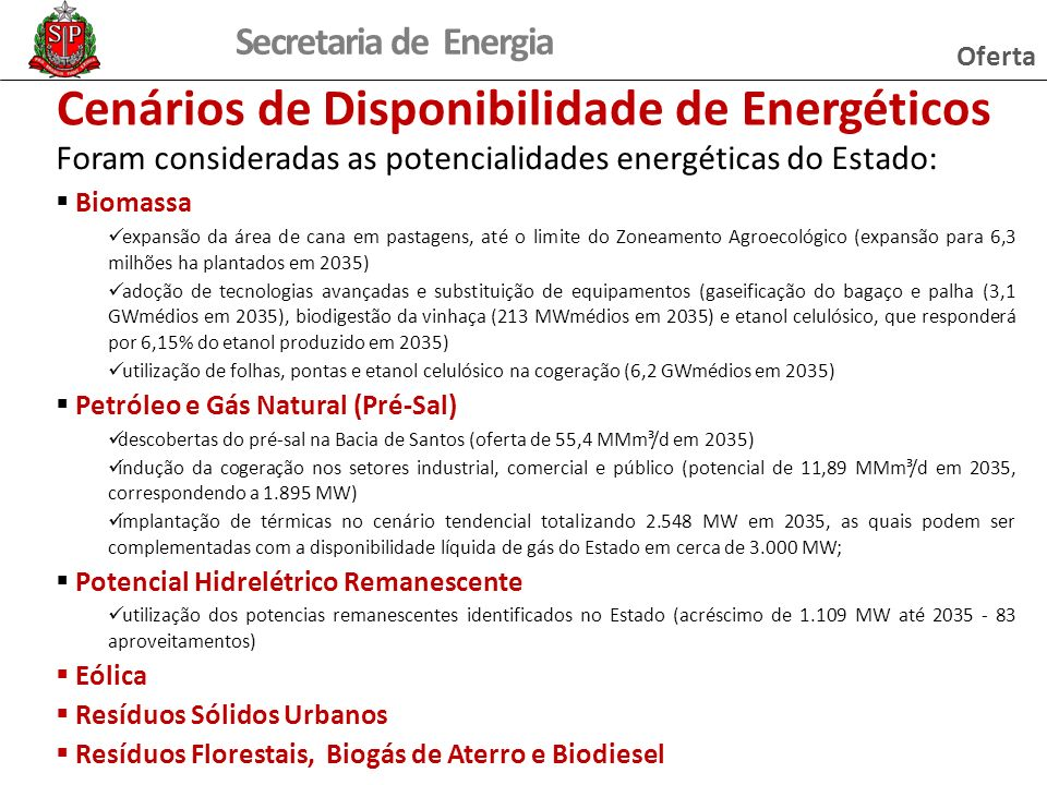 Cenários de Disponibilidade de Energéticos