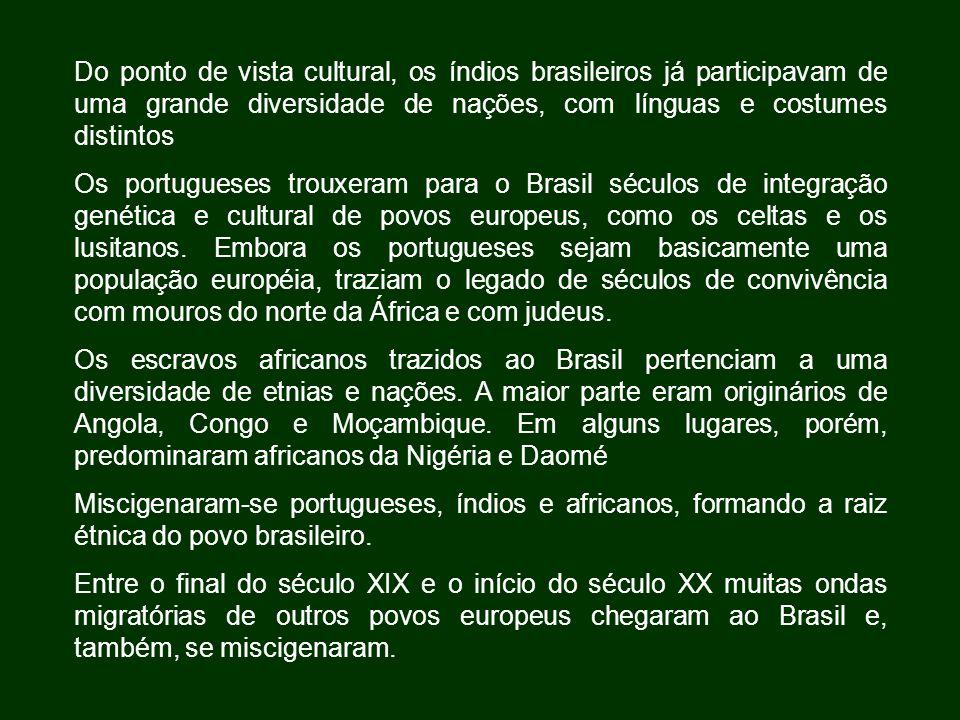 Do ponto de vista cultural, os índios brasileiros já participavam de uma grande diversidade de nações, com línguas e costumes distintos