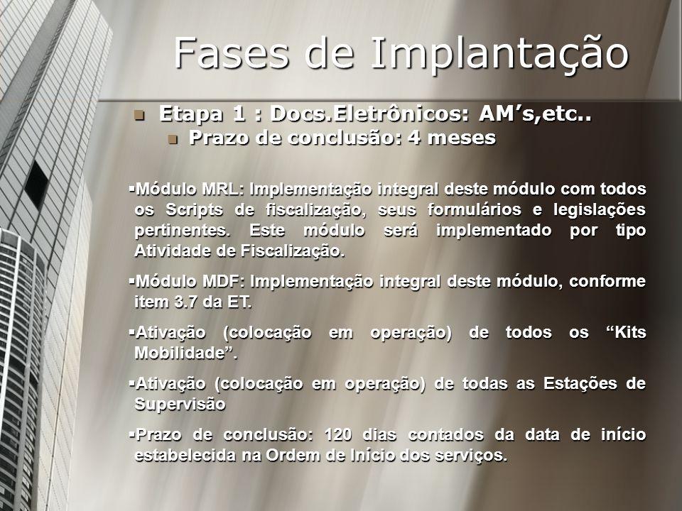Fases de Implantação Etapa 1 : Docs.Eletrônicos: AM's,etc..