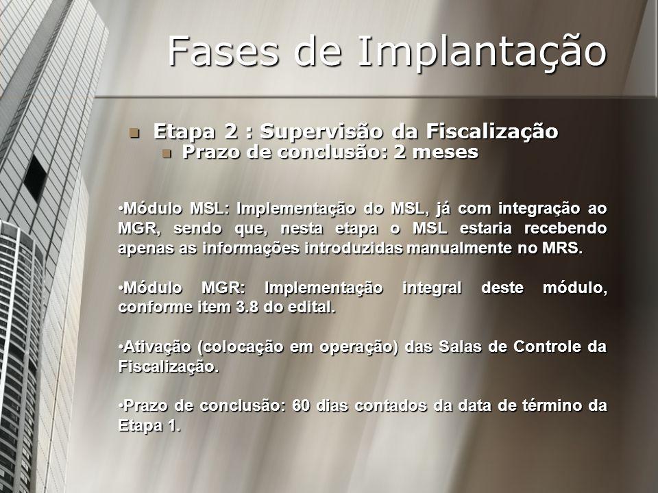 Fases de Implantação Etapa 2 : Supervisão da Fiscalização