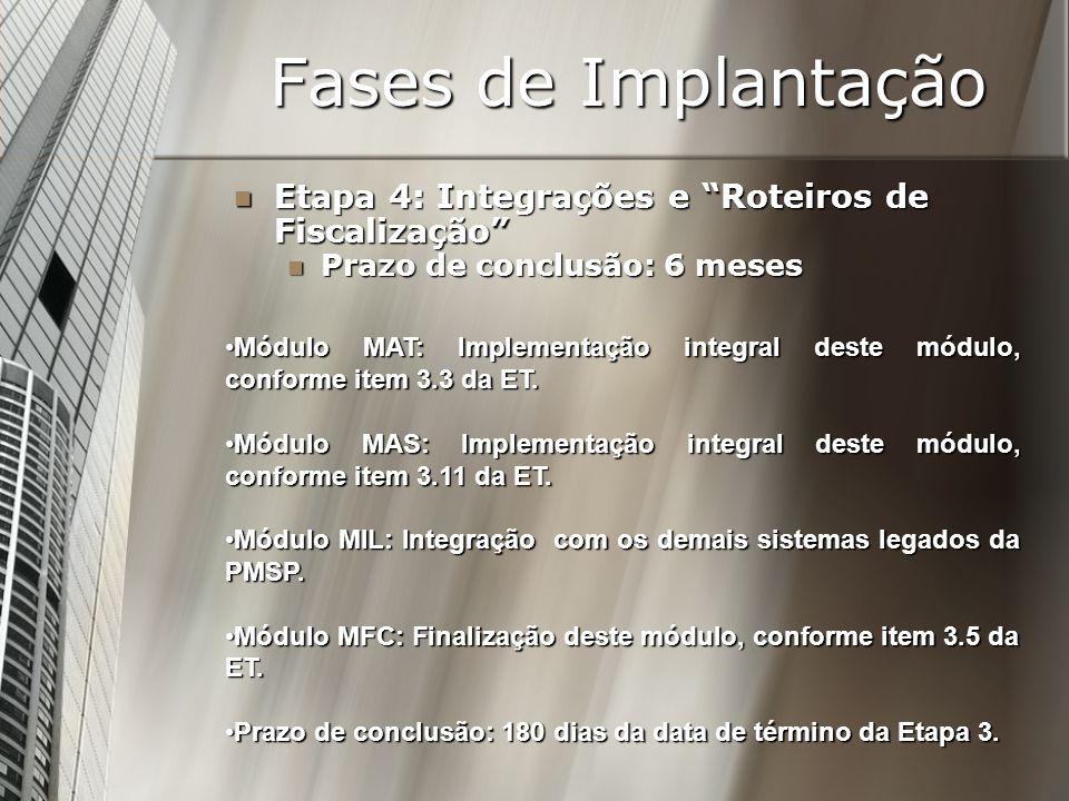 Fases de Implantação Etapa 4: Integrações e Roteiros de Fiscalização