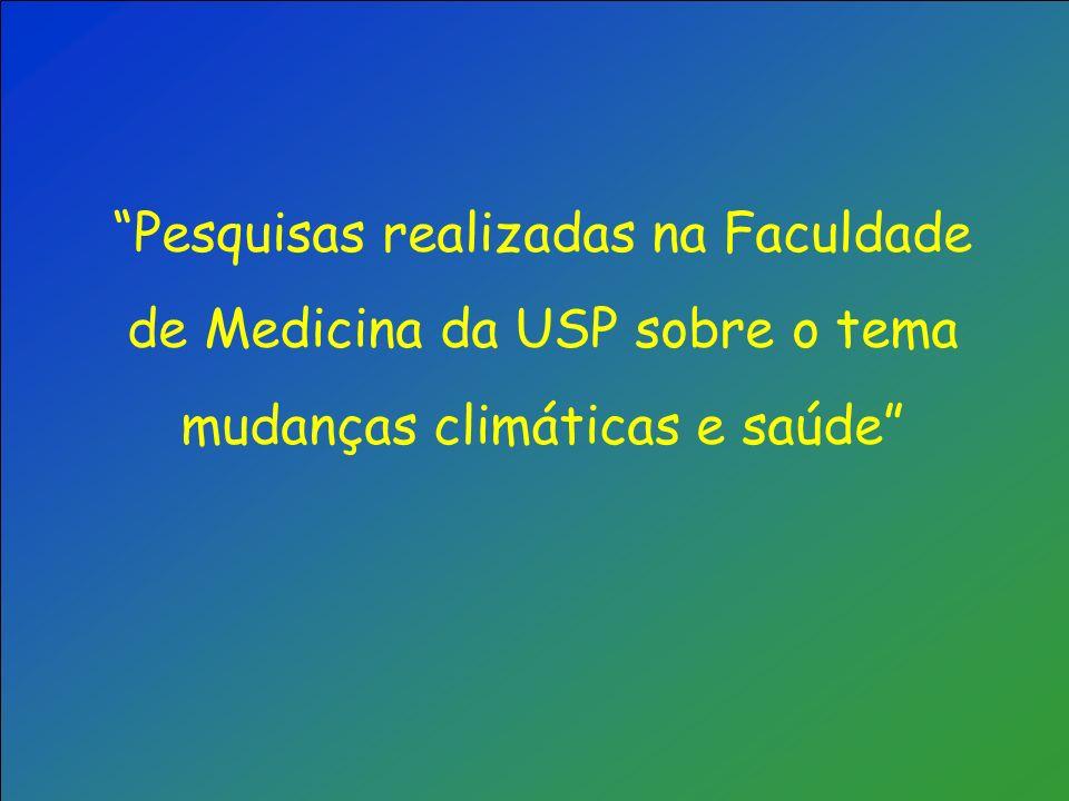 Pesquisas realizadas na Faculdade de Medicina da USP sobre o tema mudanças climáticas e saúde