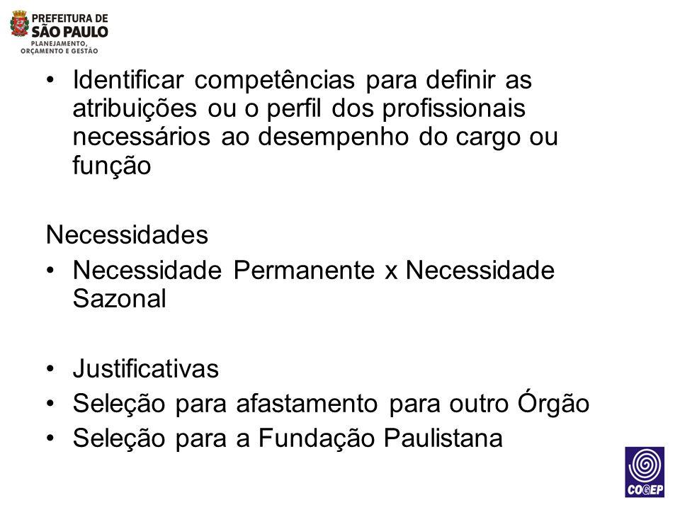 Identificar competências para definir as atribuições ou o perfil dos profissionais necessários ao desempenho do cargo ou função