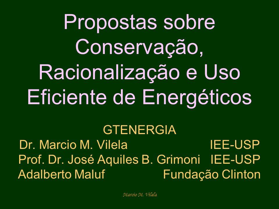 Propostas sobre Conservação, Racionalização e Uso Eficiente de Energéticos GTENERGIA Dr. Marcio M. Vilela IEE-USP Prof. Dr. José Aquiles B. Grimoni IEE-USP Adalberto Maluf Fundação Clinton