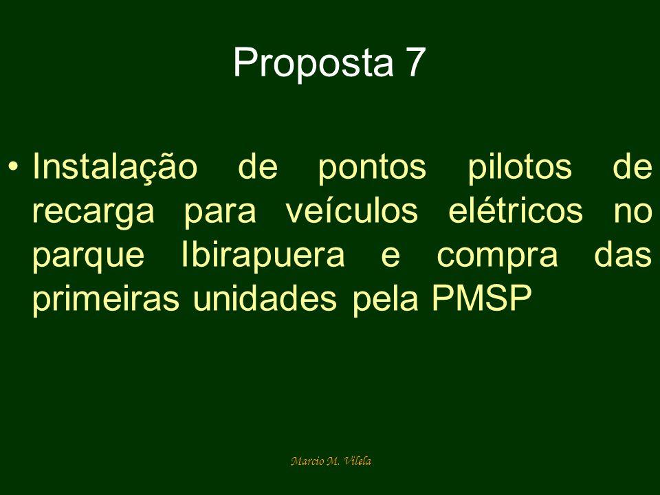 Proposta 7Instalação de pontos pilotos de recarga para veículos elétricos no parque Ibirapuera e compra das primeiras unidades pela PMSP.