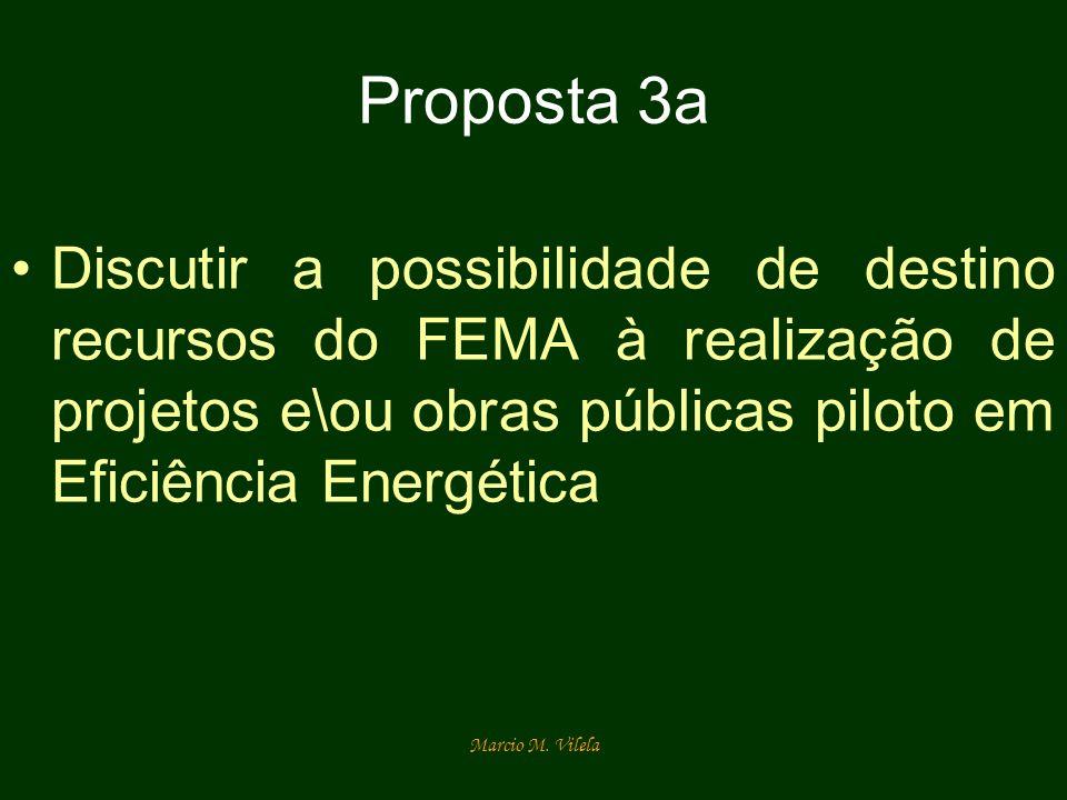 Proposta 3a Discutir a possibilidade de destino recursos do FEMA à realização de projetos e\ou obras públicas piloto em Eficiência Energética.