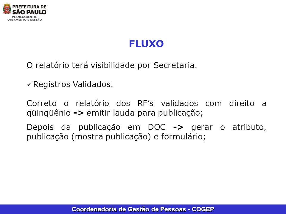 FLUXO O relatório terá visibilidade por Secretaria.