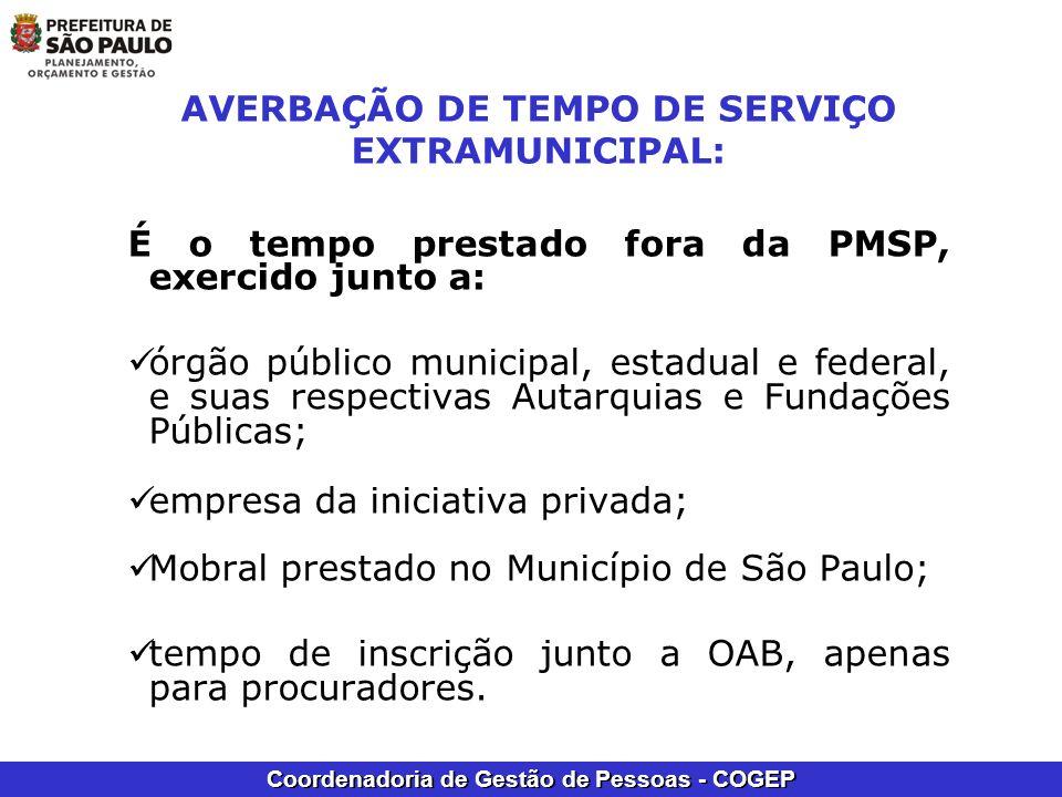AVERBAÇÃO DE TEMPO DE SERVIÇO EXTRAMUNICIPAL: