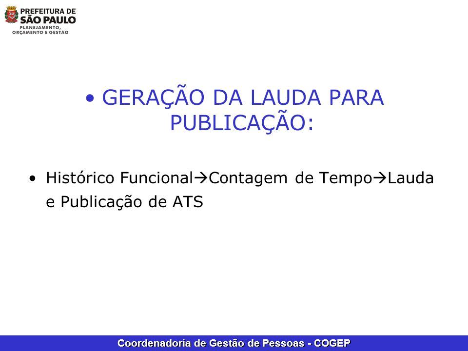 GERAÇÃO DA LAUDA PARA PUBLICAÇÃO: