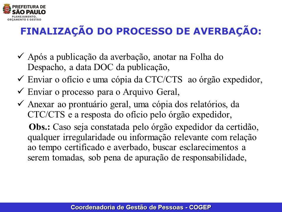 FINALIZAÇÃO DO PROCESSO DE AVERBAÇÃO: