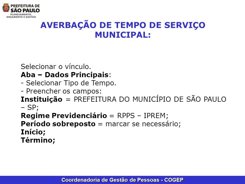 AVERBAÇÃO DE TEMPO DE SERVIÇO MUNICIPAL: