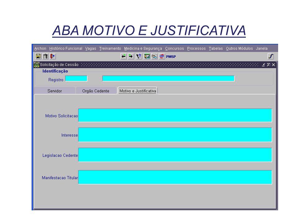 ABA MOTIVO E JUSTIFICATIVA