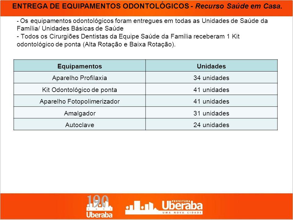 ENTREGA DE EQUIPAMENTOS ODONTOLÓGICOS - Recurso Saúde em Casa.